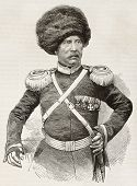 Cossack colonel old engraved portrait. Created by Worms, published on L'Illustration, Journal Universel, Paris, 1863