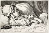 Infant sleeping old engraved portrait. Created by Garnier after Moreau the Young, published on Magas