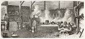 Dutch Guyana (at present days Suriname): native workers in plantation kitchen, old illustration. Created by Worms, published on L'Illustration, Journal Universel, Paris, 1863