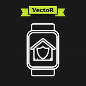 White Line Smart Watch With House Under Protection Icon Isolated On Black Background. Protection, Sa poster