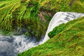 The Beautiful And Famous Skogafoss Waterfall On Iceland, Summer poster