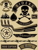 picture of gang  - Vector motorcycle design elements set - JPG