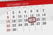 Calendar Planner For The Month September 2019, Deadline Day, 19, Thursday. poster
