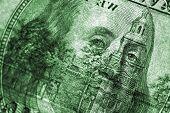 Transparent close-up of USA $100 bill