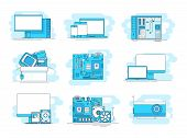 Modern Linear Pictogram Of Computer Components. Set Of Concept Line Icons Computer Components. Compu poster