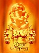Illustration Of Indian People Celebrating Ganesh Chaturthi Festival Of India With Message In Hindi G poster