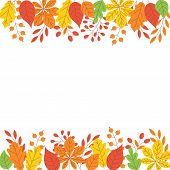 Autumn Leaf Border With Copy Space - Simple Flat Abstract Tree Colorful Foliage Frame For Fall Seaso poster
