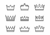Royal Crowns Collection. Quality Crown Collection. Vintage Crown Icons. Vector Illustration poster