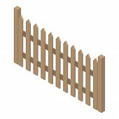 Traditional Wood Fence Icon. Isometric Of Traditional Wood Fence Vector Icon For Web Design Isolated poster
