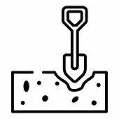 Shovel Digging Soil Icon. Outline Shovel Digging Soil Vector Icon For Web Design Isolated On White B poster