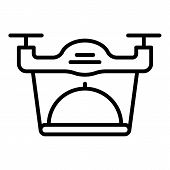 Quadcopter Food Delivery Icon. Outline Quadcopter Food Delivery Vector Icon For Web Design Isolated  poster