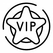 Vip Star Icon. Outline Vip Star Vector Icon For Web Design Isolated On White Background poster