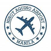 Ninoy Aquino Airport Manila Logo. Airport Stamp Vector Illustration. Manila Aerodrome. poster