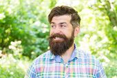The Joy Of Best Hairstyle. Bearded Man Smiling With Fashion Hairstyle In Summer. Happy Hipster With  poster