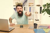 Office Is My Kingdom. King Of Office. Man Bearded Businessman Wear Golden Crown. Top Manager Head Of poster