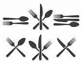 Cutlery Icon Set. Kitchen Cutlery Icons With Fork, Spoon And Knife Image, Metal Dining Facilities Fo poster