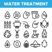 Collection Water Treatment Signs Icons Set Vector Thin Line. Water Healthy Drop With Mark Of Purity  poster