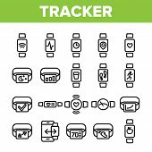 Collection Watch Tracker Elements Icons Set Vector Thin Line. Different Activity Fitness Tracker Ele poster