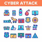 Color Cyber Attack Elements Icons Set Vector Thin Line. Virus In Email Message And Malware, Infected poster