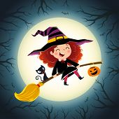 Halloween Background With Cute Little Girl Witch And Kitten Flying On A Broom. poster