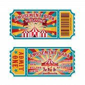 Amusement Park Ticket. Family Park Attractions Admission Tickets, Fun Festival Vintage Event Receipt poster