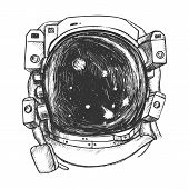 Astronaut Space Exposure Suit Monochrome Vector. Special Cosmic Suit For Exploring Galaxy And Planet poster