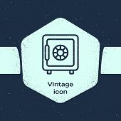 Grunge Line Safe Icon Isolated On Blue Background. The Door Safe A Bank Vault With A Combination Loc poster