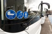 New Modern Bus On Lpg. International Symbol Of Access - Wheelchair Symbol (handicapped, Physically C poster