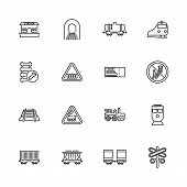 Trains, Railroad Transport Outline Icons Set - Black Symbol On White Background. Trains, Railroad Tr poster