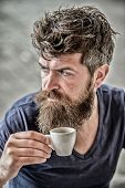 Enjoy Hot Drink. Hipster Drinking Fresh Brewed Coffee. Man With Beard And Mustache And Espresso Cup. poster