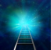 image of stairway to heaven  - Ladder leads into light represents a goal - JPG