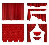 Red Curtains. Theater Fabric Silk Decoration For Movie Cinema Or Opera Hall Luxury Curtains Vector R poster