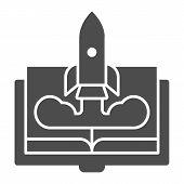 Book And Rocket Solid Icon. Imagination Concept Vector Illustration Isolated On White. Education Roc poster