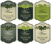 Vector Set Of Labels For White Wine With Bunches Of Grapes And Calligraphic Inscriptions In Retro St poster