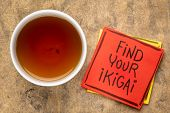 find your ikigai handwriting, reminder note with a cup of tea - Japanese concept  of a reason for be poster