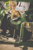 Jazz musicians playing the saxophone - Beautiful music / Jazz mood Concept poster