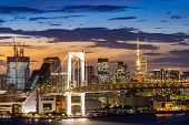 Aerial view of Tokyo skylines with Rainbow bridge and tokyo tower over Tokyo bay Sunset Twilight fro poster