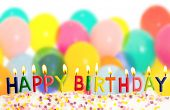 picture of helium  - Happy birthday lit candles on colorful balloons background - JPG