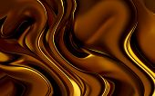 Liquid gold waves fluid flowing dynamic thick background poster