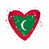 Maldives Flag In The Form Of A Big Heart. Vector Illustration On A White Background. Brush Strokes A poster