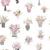 Garden Plants And Flowers Hand Draw Cartoon Seamless Pattern. Flowers Pots And Vase Cartoon Texture. poster