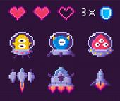 Space Pixel Game, Spaceship And Ufo, Heart Symbols On Purple, Pixelated Cosmic Object, Space 8 Bit V poster