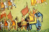 stock photo of courtier  - Colorful Rajput Indian mural painting in the fort of Jodhpur - JPG
