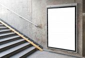 stock photo of placard  - Blank billboard or poster located in underground hall - JPG