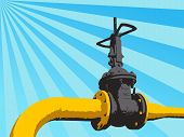 Pipeline Valve On The Tube. Vector Illustration
