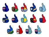 like symbol with flag of oceania countries