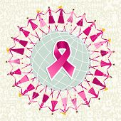 image of world health organization  - Breast cancer care globe awareness ribbon with women teamwork - JPG