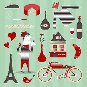 stock photo of beret  - Vector set of various icons about france - JPG