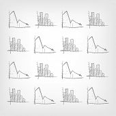 Cartoon Graph Down on Grey Gradient Background. Vector EPS 10.