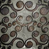 grunge metal plate with classic ornament